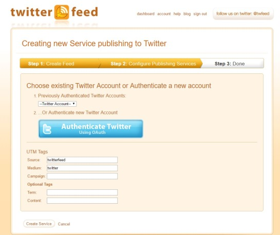 Select Twitter account and authenticate